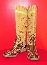 BEVERLY FELDMAN RETRO/BOHO/HIPPIE SWASHBUCKLING EMBROIDERED BOOTS-6.5B