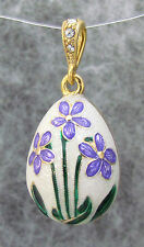 White Egg Pendant, Sterling Silver, Gold Plated & Swarovski Crystal, Flowers +F