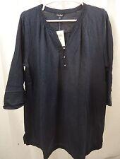 Women's Lucky Brand 3/4 Sleeve Crochet Trim  Shirt  1X