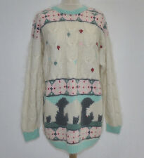 90's VINTAGE OVERSIZED CABLE KNIT POLAR BEAR WINTER JUMPER SWEATER PULLOVER L