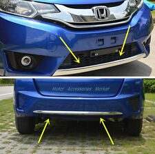 2pcs Chrome Front + Rear Bumper For Honda Jazz Fit Hatchback 2014 2015 2016