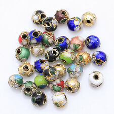 Lot 110pcs 6mm Mixte Couleur Cloisonné Perle Ronde Pour Bijoux Bracelet