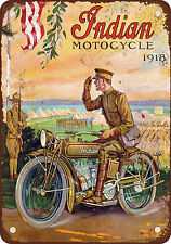 1918 Indian Motorcycles in the Military Vintage Look Reproduction Metal Sign