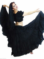 "Black American Tribal Gypsy 25 yards yard bellydancing cotton skirt L39/40"" ATS"