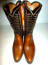 JUSTIN Men's SIZE 9 Vintage Cowboy Boots Brown and Tan Leather (Western) 35C