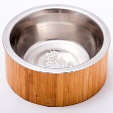 Bamboo Pet Bowl Small Dog and Cat Food Stainless Steel Dish Eco-Friendly 2 cup