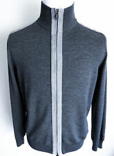 $2475 BRIONI Gray Wool with Suede Leather Trim Cardigan Sweater Jacket Size XS