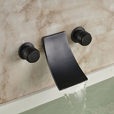 Wall Mount Bathroom Sink Mixer Tap Waterfall Spout Tub Faucet Oil Rubbed Bronze
