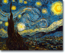 STARY NIGHT VINCENT VAN GOGH STRETCHED CANVAS GICLEE REPRO READY TO HANG 16x12