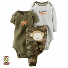 Carter's 3-piece Turn Me Around Set Camo Monkey 3 months Authentic & Brand New