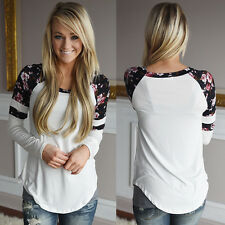 Women Floral Splice Long Sleeve Round Neck Pullover Tops Cotton Blouse T Shirt