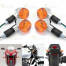 4x Amber Chrome Bullet Front Rear Turn Signal Blinker Indicator Light Motorcycle