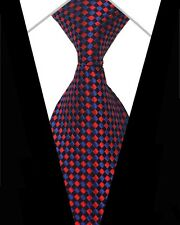 GIFTS FOR MEN Classic Mens Geometric Check Necktie Silk Tie Black Blue Red