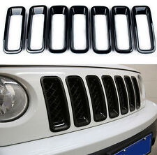 2011-2015 For Jeep Patriot Front Grill Grille Insert Trim Covers ABS Black 7pcs