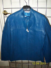 Leather Jacket by International Male Lightweight Royal Blue or Black  Sz. S-M