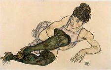 Egon Schiele Reproductions:Reclining Woman with Green Stockings - Fine Art Print