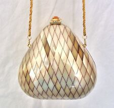 VTG RARE MOTHER OF PEARL CITRINE CLAM SHELL EVENING BAG MINAUDIERE I. MAGNIN