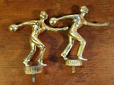 "Lot of (2) Vintage 1960's Men's Bowling Tournament Metal Trophy Tops (4"") hd2"