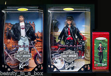 Harley Davidson #1 Ken & #1 Barbie Doll Matching Hallmark Ornament Lot 3