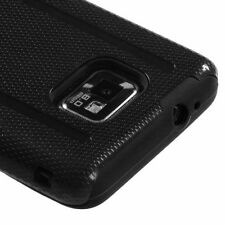 For Samsung Galaxy S2 i777 i9100 AT&T - HARD&SOFT HYBRID CASE COVER BLACK CARBON