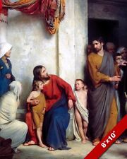 JESUS CHRIST SUFFER THE CHILDREN PAINTING CHRISTIAN BIBLE ART REAL CANVAS PRINT
