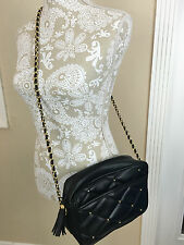 Vintage Quilted Black Gold Studded ChainStrap Crossbody Shoulder Bag Y&S Tassel