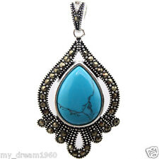 20x40mm Blue Turquoise Gemstone Drop Marcasite 925 Sterling Silver Pendant
