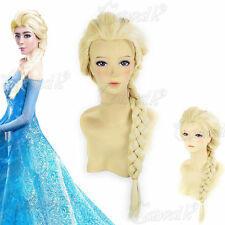 BRAND NEW FROZEN SNOW ADULT ELSA LONG BLONDE BRAIDS DESIGN COSPLAY WIG DISNEY