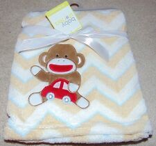 ~NWT Boys BABY STARTERS Sock Monkey/Chevron Soft Blanket! Cute FS:)~