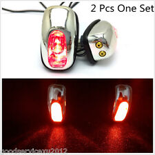 Chrome Shell Red LED Lights Autos Windshield Jet Spray Nozzle Wiper Washer Eyes