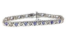 14k White Gold Natural TANZANITE Round Cut & Diamond Tennis Bracelet