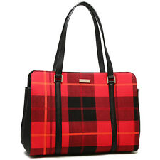 NWT KATE SPADE Miles Newbury Lane Plaid Red Toe Bag WKRU4005 $329