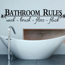 Bathroom Rules Quote Decals Wall Sticker Mural Removable Room Vinyl Art Decor