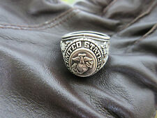 US Army USMC Marines Corps Insignia Ring 1775 Jun Tavern 1945 Iwo Jima WK2 Gr 9