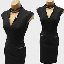 Exquisite KAREN MILLEN Black Thick Jersey Cocktail Office Pencil Dress 10 UK