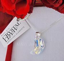 925 STERLING SILVER CHAIN NECKLACE SWAROVSKI ELEMENTS MOON CRYSTAL AB 16mm