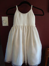 US Angels Girls White Ballerina Flower Girl Dress, Wedding Beaded Tulle size 4