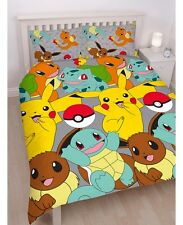 Pokemon Catch Reversible Queen Quilt Cover Set - Pikachu, Squirtle, Bulbasaur...