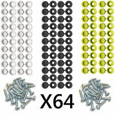 NUMBER PLATE CAR FIXING FITTING KIT SCREWS & CAPS X 64