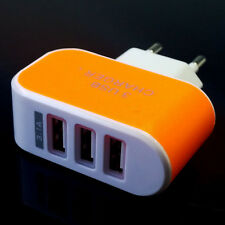 Universal 3 Ports European USB Power Adapter EU Plug Home Wall Charger Orange