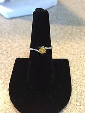 Gorgeous 14K White Gold and Yellow Diamond Solitaire Ring