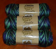 """Caron Simply Soft """"Paints"""" Yarn Lot Of 3 Skeins (Passion #0019) 4 oz."""