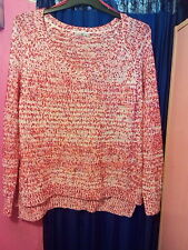 TU PINK RED  WHITE MIX  V NECK LONG SLEEVE BOBBLE KNIT JUMPER SZ 20