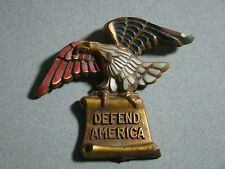"""Vintage WWII Patriotic """"DEFEND AMERICA"""" Eagle Red White Blue Pin"""