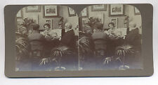1890's FOUR PEOPLE PLAYING CARDS WITH ART PRINTS ON WALL STEREOVIEW