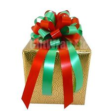 10 Red Green Pull Bows Christmas Gift Wrap Baskets Wreath Swag Decorations