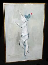 "'70s Hawaii Oil Painting ""Marcel Marceau Bip the Clown"" by John Chin Young (Dov)"