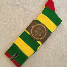 MENS PAIR JAZZY TWO SOCKS YELLOW GREEN MEDIUM UK SIZE 6-9 STRIPED COTTON SOCKS