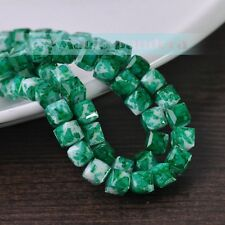 New DIY 8mm Glass Czech Square Cube Faceted Loose Spacer Beads Jewelry Findings