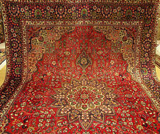 9 x 13 Handmade Hand Knotted Antique 1940s Persian Tabriz Veggie Dyes Wool Rug